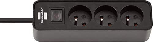 Brennenstuhl ECOLOR - Regleta con 3 enchufes (cable 1,50 m H05VV-F3G1.0, con interruptor), color negro