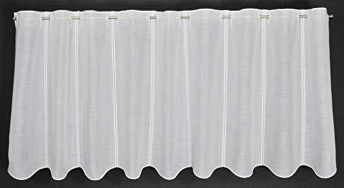 Scheibengardine Käseleinenoptik 50 cm hoch | Breite der Gardine durch gekaufte Menge in 16 cm Schritten wählbar (Anfertigung nach Maß) | Weiß | Vorhang Küche Wohnzimmer
