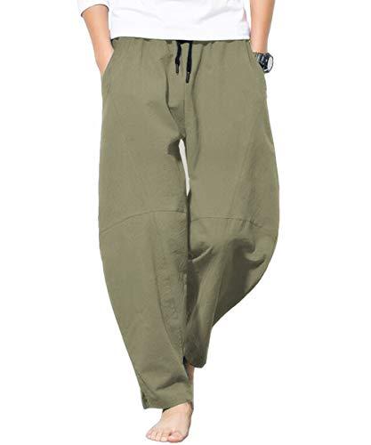 CLANMILUMS Men's Linen Pants Casual Elastic Waist Drawstring Yoga Beach Trousers