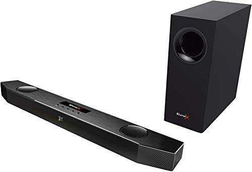 Creative Sound BlasterX Katana - Barra de sonido para juegos multicanal (Bluetooth, AUX-In, Headset out, Mic-in, Entrada óptica; USB para PC, PS4, PS4 Pro e PS4 Slim) color negro