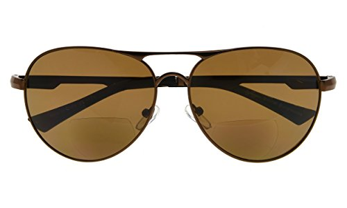 BFOCO Outdoor Pilot Style Bifocal Sunglasses UV400 Protection for Sunshine Readers (Brown,+2.50)