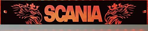 Scania LED-Leuchtschild mit Greif, Svempa, 60x10 cm ✓ Ideale Geschenkidee ✓ Lasergraviert | Edles LED-Schild als Truck-Accessoire | Beleuchtetes Scania Logo-Schild für den 12/24Volt-Anschluss |
