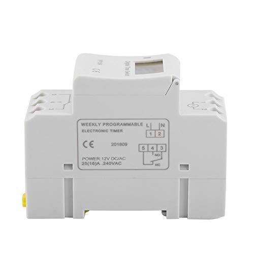 DAUERHAFT Interruptor de Tiempo de relé programable Interruptor de Temporizador Digital 16A Batería de Alta eficiencia, para Luces de neón(DC12V)