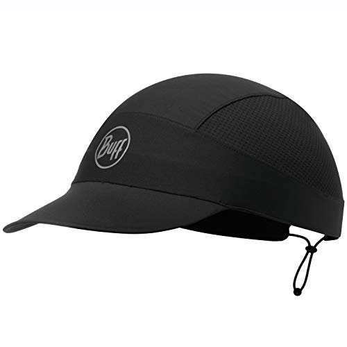 Buff Running Cap + UP Schlauchtuch Damen & Herren Set | Faltbare Kappe | UV Laufkappe | Run Hat | Sportmütze | Schwarze Mütze mit Schirm | Laufen | R-Solid Black XL - 119505.999.10.00