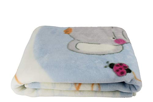 Manta para Bebe, Mantita para cuna 110x140, Manta Rachel estampada suave y cálida (Elefante Azul)