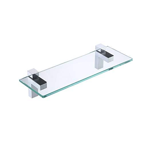 KES Duschregal Glasregal Bad Duschablage 8mm Hartglas Badezimmer Wandregal Regal Dusche Glas Ablage mit Regalträger 35cm Hängen Wandmontage Poliert Chrom, BGS3201S35