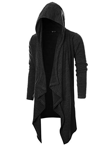 GIVON Mens Long Sleeve Draped Lightweight Ruffle Shawl Collar Cardigan Hooded Cardigan with Pocket/DCC145-BLACK-M