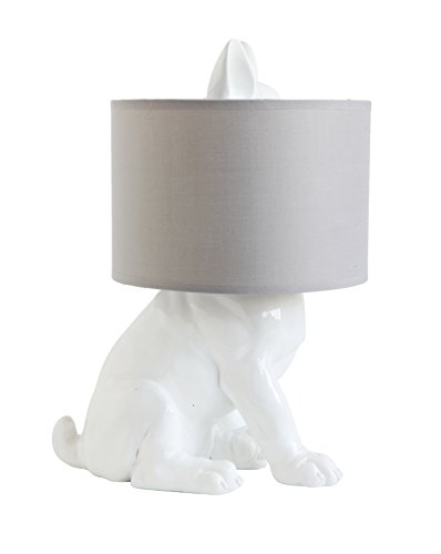 Creative Co-Op White Resin Dog Table Lamp with Linen Shade, 13' L x 10.25' W x 17.5' H