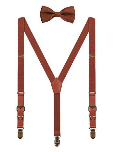WANYING Kinder Baby Kleinkind Jungen Mädchen Hosenträger Fliege Set für 1-8 Jahres alt Vintage Stil 2cm Breite 3 Clips Y Form Hosenträger - Braun