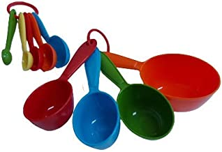 Measuring Cups and Spoon Set 9 Piece Plastic Colored for Kitchen Cooking, Food Baking