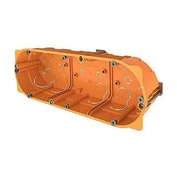 Cajas empotradas para paredes huecas (pladur ó similar) Caja triple para mecanismos enlazable 68 x 213 x 45mm naranja: Amazon.es: Bricolaje y herramientas