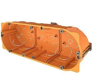 Cajas empotradas para paredes huecas (pladur ó similar) Caja triple para mecanismos enlazable 68 x 213 x 45mm naranja