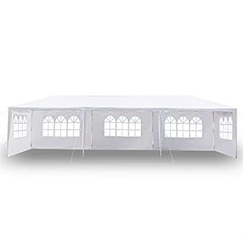Gazebo Tent 10 x30  Waterproof Canopy Tent with 5 Sides Suitable for Party /Outdoor Activity/Gardens/Backyards/Wedding/Parking Shed White  US Stock