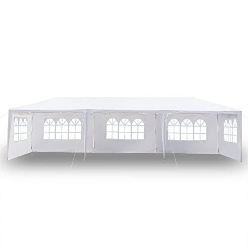 JIESD-Z Carpa blanca para exteriores de 10 x 30 pies, con paredes laterales, carpa portátil para bodas con 5 paredes laterales extraíbles, para eventos al aire libre, refugio de barbacoa