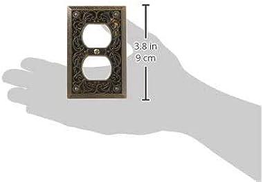 Amerelle 65DAB Filigree Cast Metal Wallplate 1 Duplex Outlet Antique Brass