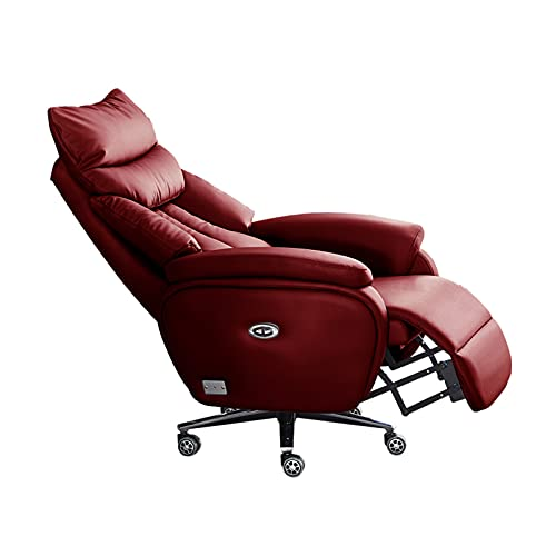 FUCHEN Sillón Reclinable,sofá Moderno y Perezoso de Cuero,Ajuste eléctrico Giratorio,para Sala de Estar,Dormitorio,Oficina.85 * 83 * 120-126 cm