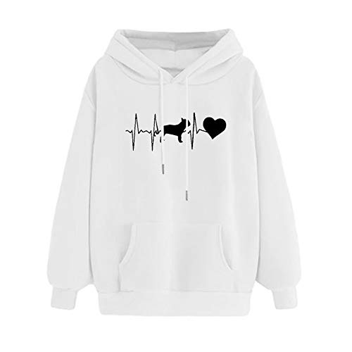 Mllkcao Ladies Tops for Women Valentine's Day Present Blouses Hoodie Sweatshirt Pullover Sweater Jumper Plus Size Long Sleeves Tops Couples Love Printed Comfortable White