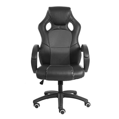 Computer stoel, racing Pc gamestoel PU leer hoge rugleuning draaistoel Executive werk bureaustoel grijs