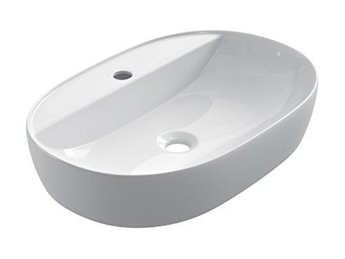 STARBATH PLUS Lavabo Cerámica Sobre Encimera Ovalado Blanco Taladro Grifo 60 x 38 x 12 cm SFOC60
