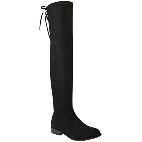 Fashion Thirsty Damen Overknee Strümpfe Niedriger Blockabsatz Schnürer Slouch Stiefel Größe - Schwarz Kunstwildleder, 37
