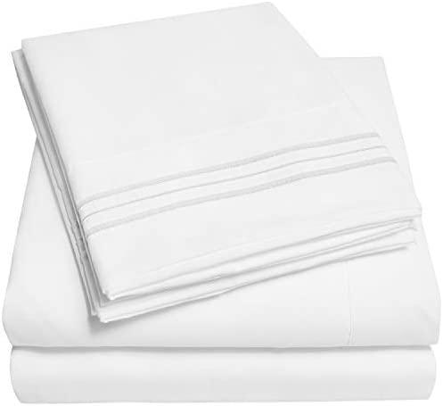 1500 Supreme Collection Bed Sheet Set – Extra Soft, Elastic Corner Straps, Deep Pockets, Wrinkle & Fade Resistant Sheets Set, Luxury Hotel Bedding, King, White