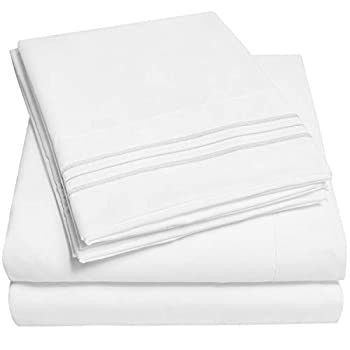 1500 Supreme Collection Extra Soft Twin Sheets Set White - Luxury Bed Sheets Set with Deep Pocket Wrinkle Free Bedding Over 40 Colors Twin Size White
