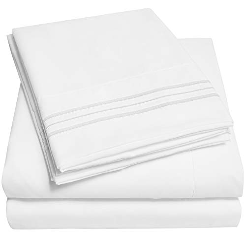 1500 Supreme Collection Extra Soft Twin XL Sheets Set, White - Luxury Bed Sheets Set with Deep Pocket Wrinkle Free Hypoallergenic Bedding, Over 40 Colors, Twin XL Size, White