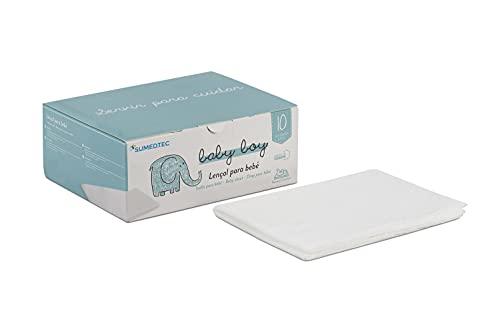 Sumedtec 10 muselinas para bebé, Toallas desechable, toallitas Desechables Seca de 90x70 cm, Blancas