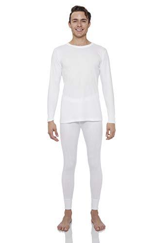 Rocky Thermal Underwear for Men Lightweight Cotton Knit Thermals Men's Base Layer Long John Set (White - Lightweight (Cotton) - Large)