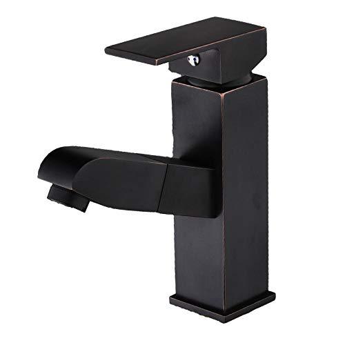 BadezimmerKüchenarmatur wasserhahn küche wasserhahn küche spüle Ausziehbarer Waschtischarmatur aus Kupfer im europäischen Stil. Amerikanischer Shampoo-Teleskop-Waschtischarmatur aus schwarzer Bronze