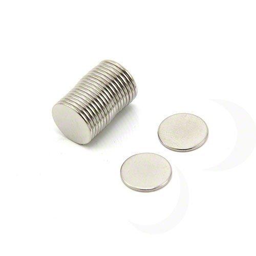First4magnets F308-20 12mm Durchmesser x 1mm dicken N42 Neodym-Magneten - 0,73 kg ziehen (Packung mit 20), silver, 25 x 10 x 3 cm, Stück