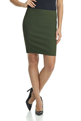 Rekucci Women's Ease Into Comfort Above The Knee Stretch Pencil Skirt 19 inch (Medium,Olive)