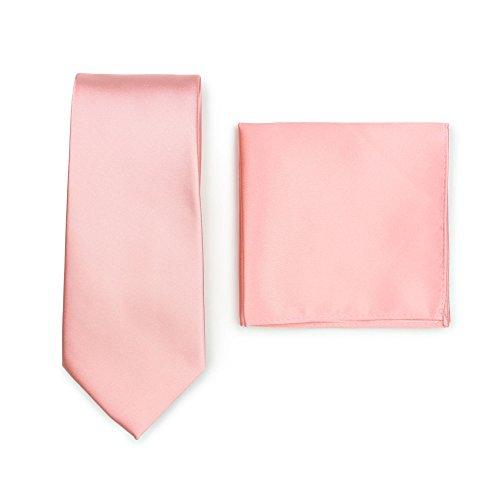 Puccini Krawatte + Einstecktuch Set Herren, Einfarbig, 20 Farben, Satin-Glanz, Handarbeit, Hochzeit – Alltag – Büro, Blush, Krawatte: 148 cm lang, 8,5 cm breit