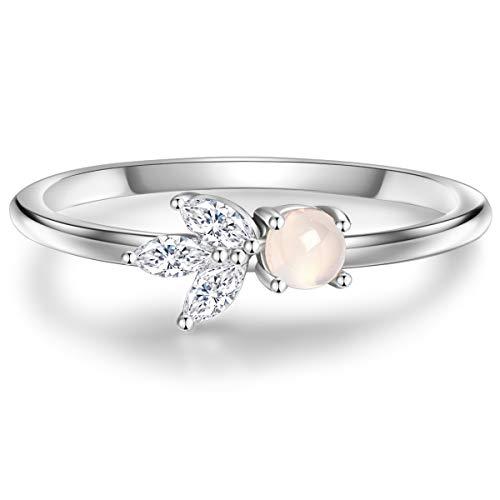Glanzstücke München Damen-Ring Sterling Silber 925 mit Bergkristall und Mondstein - Edelstein-Ring mit Blume-Symbol