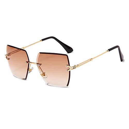 SXRAI Gafas de Sol cuadradas con Montura Poligonal para Mujer, Gafas de Sol para Mujer, Gafas de Sol graduadas para Hombre,C2