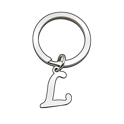 Portachiavi in argento con lettera dell'alfabeto, da donna e da uomo A B C D E F G H I J K L M N O P Q R S T U V W X Y Z (L)