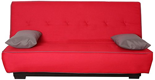 CANAPES TISSUS Milan Banquette Canapé-Lit, Polyester, Rouge, 193 x 95 x 101 cm