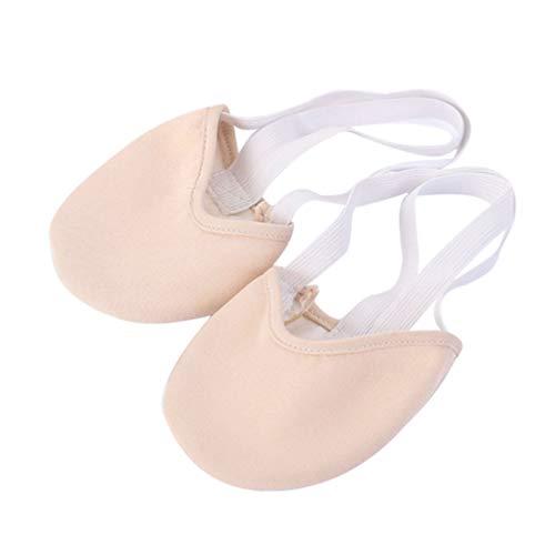 Vosarea Calcetín único de Media Puntera. Hecho de algodón de Punto, Zapatillas de Ballet Modernas para Bailarinas de Ballet y competición de Gimnasia rítmica (Color de Piel, Talla S 34-35)