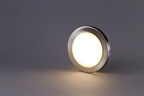 Cloudy Bay 7.5 inch LED Mini Flush Mount Ceiling Light 3000K Warm White Dimmable 12W 840lm -100W Incandescent Fixture Equivalent, Bathroom Hallway Stairway Lighting, Brushed Nickel Finish
