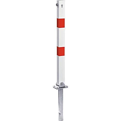 TMS PRO SHOP Absperrpfosten klappbar, Vierkant-Sperrpfosten zum Einbetonieren mit Zylinderschloss, rot/weiß aus Stahl