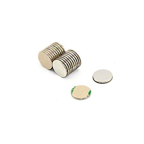 Magnetastico Zelfklevende neodymium-magneten, N52-schijf, 8 x 1 mm, sterke kleefmagneten met 3M-plakband, N52-magneten met zelfklevende folie, extra hoge hechtkracht