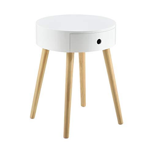 [en.casa] Mesa Auxiliar con un Cajón 50 x 38 x 38 cm Mesa de Centro Mesilla de Noche Mesita Cómoda Diseño Blanco
