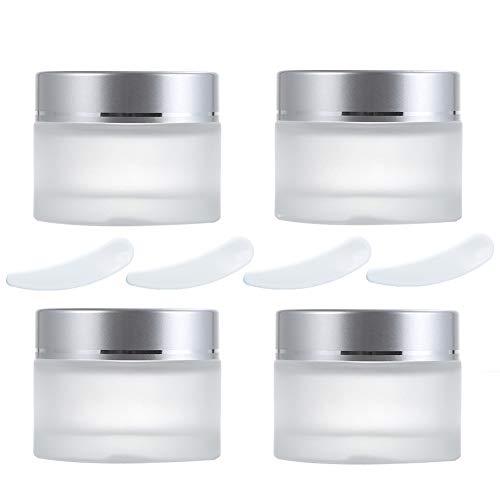 4 Piezas Frascos de Vidrio Redondos de 50ml, Envases Cosméticos Vacíos con Forros Interiores y Mini Espátula, Tarros Cosmetica para Crema Loción Bálsamo Jabón Maquillaje