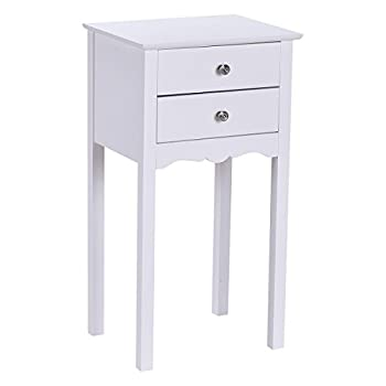 Giantex End Table w/ 2 Drawers Side Table Nightstand Multi-Purpose Accent Table Living Room Bedroom Home Furniture  1 White
