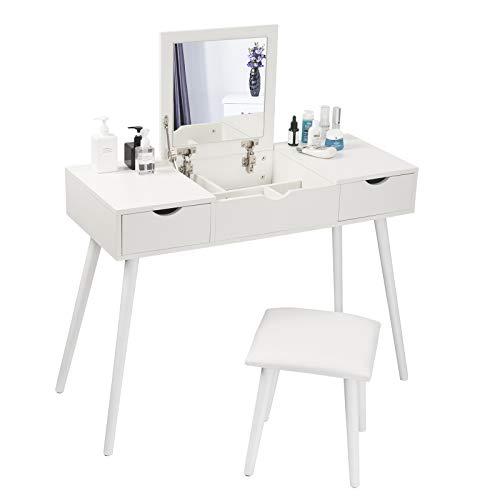 EUGAD Schminktisch mit Spiegel und Hocker, Frisiertisch mit Aufklappbarem Spiegel, Schreibtisch mit 2 Schubladen, 100x40x75cm(L*B*H), Kosmetiktisch Computertisch mit große Tischplatte, Weiß