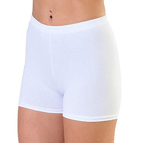 Alkato Damen Shorts Hotpants Blickdicht Stretch, Farbe: Weiß, Größe: 38