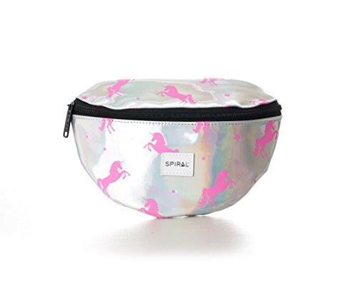 Spiral Silver-Pink Unicorns Bum Bag Sac Banane Sport, 24 cm, 3 liters, Argent (Silver)