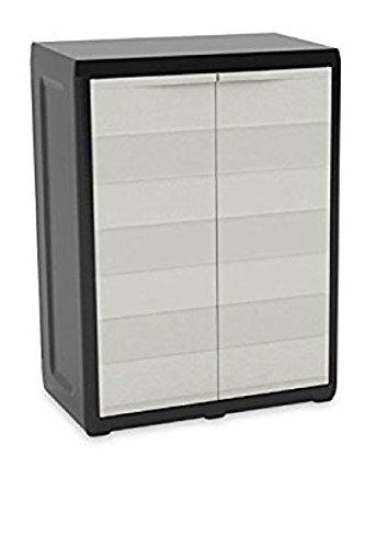 Kast-kunststof, zwart/poort, laag, 65 x 38 x 87 cm, eenheidsmaat