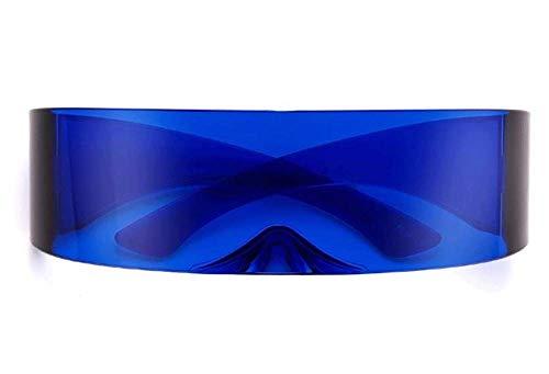AStyles Futuristische Robo Shield Sonnenbrille, Monoblock, Zyklops, 100 % UV400, Blau (blau), Large