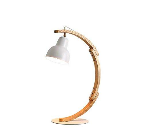 Lámpara de mesa Lámparas de Nightstand Arte simple lámpara de mesa de madera maciza de escritorio Lámpara de mesa de ojos lámpara de mesa LED creativo dormitorio Mesita de luz de la lámpara Lámpara E2